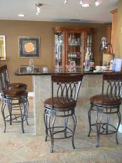 Tile On Basement Floor In Wet Bar Remodeling Photo