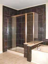 Updated bathroom with Black marble tile shower