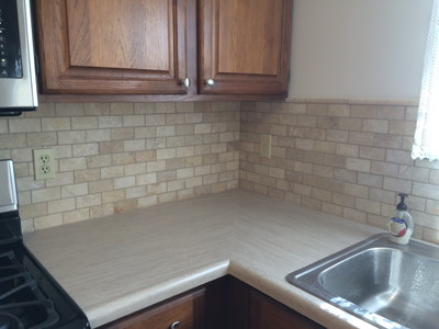 kitchen brick backsplash with formica counter full