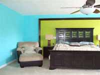 Bright paint colors in bedroom.