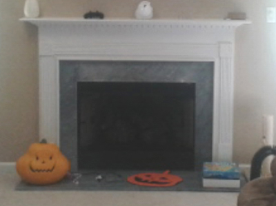 the traditional fireplace before remodel